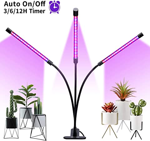 Plant Grow Lamp Auto ON /& Off W//2-Way Timer 24W Dual Head High Power LED /& More!