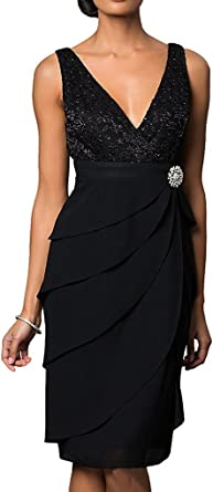 DressyMe Womens Mother of Bride Dresses Knee-Length with Sleeves Party Gown A-Line