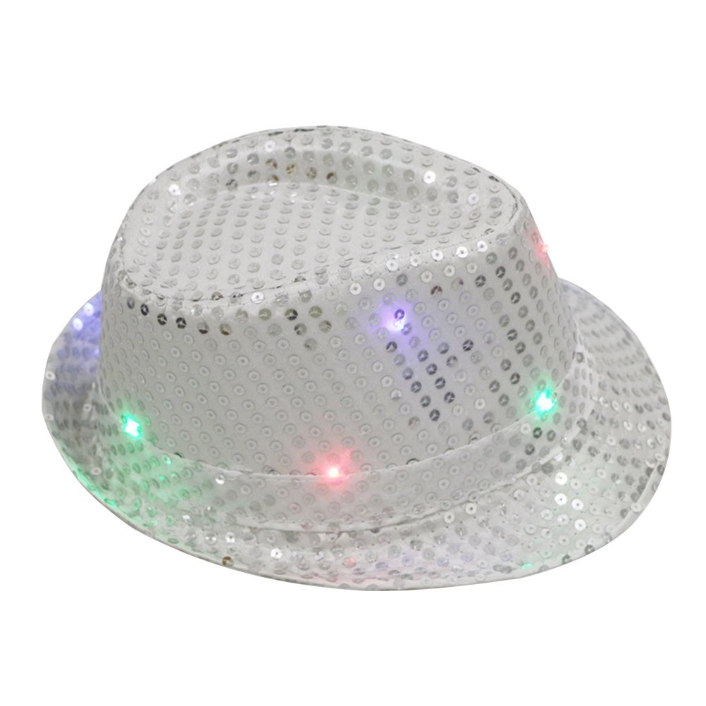 OULII Flashing LED Fedora Hats Glitter Sequins Jazz Hats Caps for Unisex Adult Party Dress up Costume Accessories (Silver)
