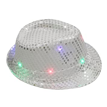 7a592ff6235 OULII Glitter Sequins Hat Unisex Flashing LED Hat Jazz Hats for Men Women  Party Costume
