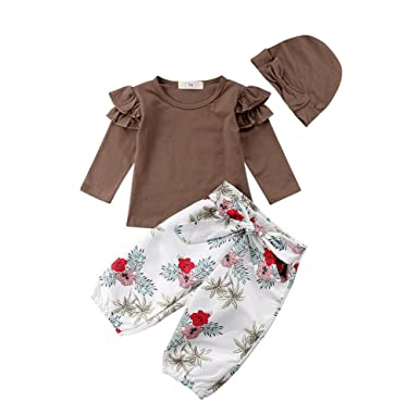8b234e697d46 3Pcs Toddler Girls Solid Brown Ruffled Long Sleeve Tops Shirt   Floral  Loose Pants   Solid