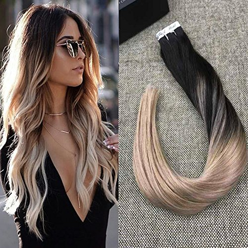 Ful Shine 22 inch Ombre Tape in Extensions Dip Dyed Hair Color #1B Off Black Fading to #18 Dirty Blonde Balayage Remy Hair Skin Weft Extensions 20 Pcs 50gram
