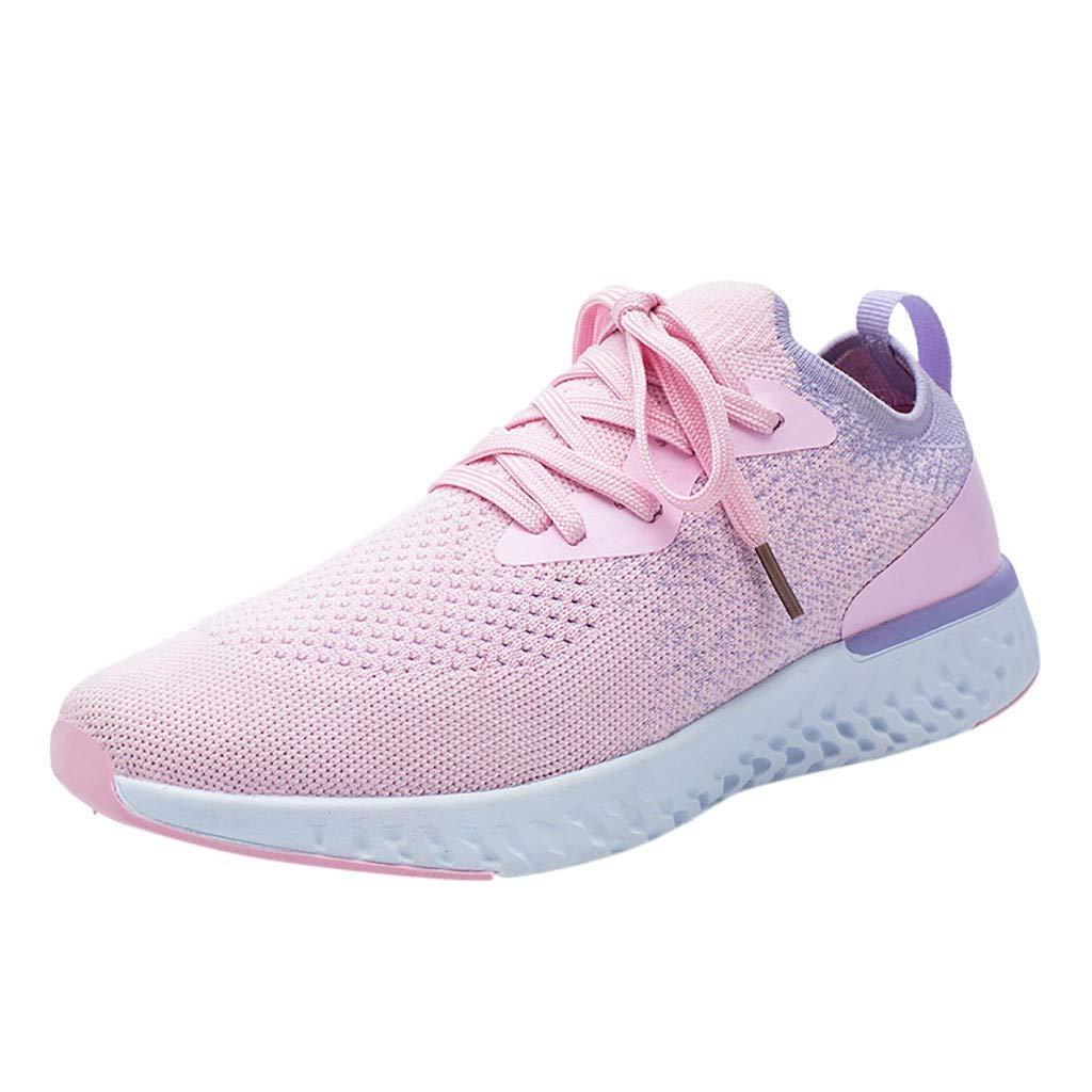 HENWERD Women's Casual Walking Shoes Student Lightweight Non-Slip Running Sneakers (Pink,6.5 US)