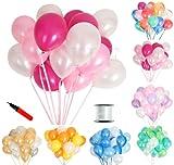 (ジンセルフ) JINSELF あんしん極厚風船 100個セット 弾力2倍 高品質 キラキラ光沢 誕生日 結婚式 パーティー 飾り 装飾 空気入れ ピンクローズ