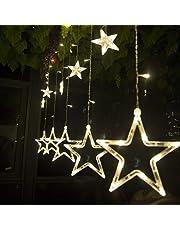 Cadena de luces LED de colores Salcar de 2 * 1 metros, cortina 12 estrellas de colores para navidad, decoracion de fiestas, celebraciones, 8 programas de cambio de luz (luz cálida)