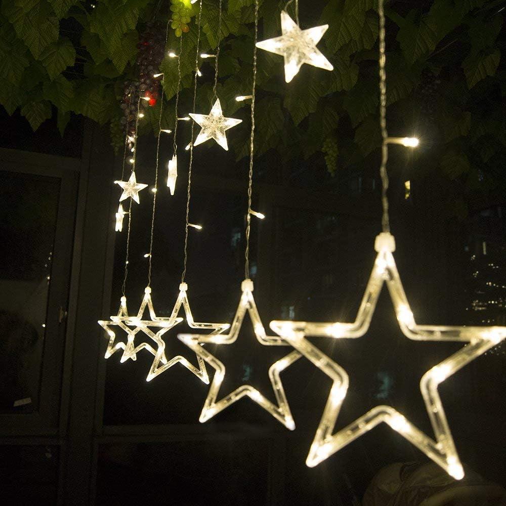 Cadena de luces LED de colores SALCAR de 2 * 1 metros, cortina 12 estrellas de colores para navidad, decoracion de fiestas, celebraciones, 8 programas de cambio de luz (luz cálida): Amazon.es: Hogar
