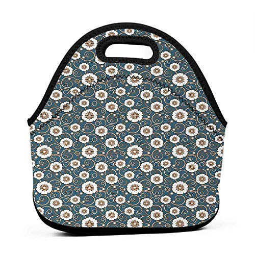 - Travel Case Lunchbox with Zip Vintage,Pattern of White Daisies with Swirled Stalks and Ornate Dotted Circles,Petrol Blue Brown White,novelty lunch bag for adults