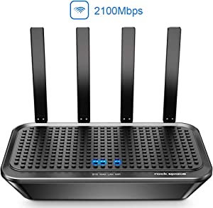 WiFi Router-AC2100 Dual-Band Smart WiFi Router, Speed Over 2033Mbps, Support MU-MIMO&Beamforming, Wireless Router with 1xWAN Port/4xGigabit LAN Ports/1x2.0 USB Port, APP Control&One SSID Simple Setup