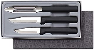 product image for Rada Cutlery 3-Piece Basics Knife Gift Set Kitchen Knives Stainless Steel Resin, MAde in USA, Black Handle