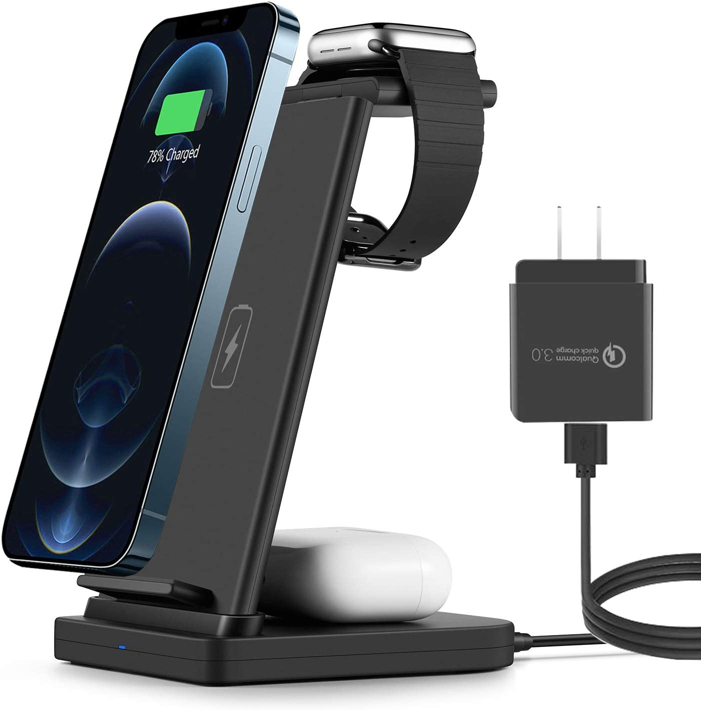 3 in 1 Wireless Charging Station for Apple Products Apple Charging Station iPhone and Apple Watch Charging Station Compatible for iPhone Series iWatch and Airpods Series with Quick Charge 3.0 Adapter.