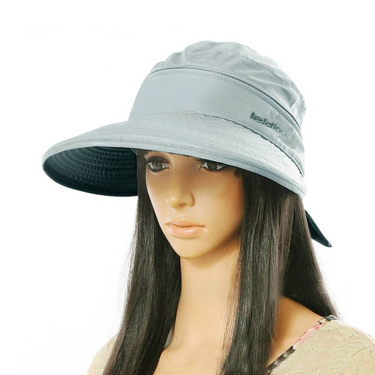 Amazon.com  Aisa Women Bowknot Sun Hat Wide Large Brim Visor Hat Cap Summer  Beach Hat Color Grey  Sports   Outdoors d54e2853813