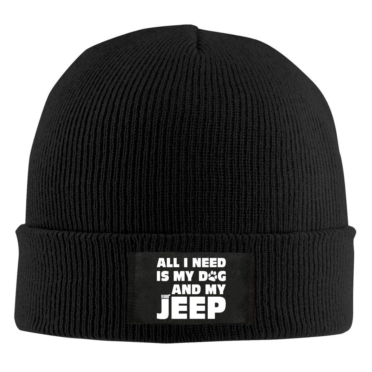 All I Need is My Dog and My Jeep Unisex Warm Winter Hat Knit Beanie Skull Cap Cuff Beanie Hat Winter Hats