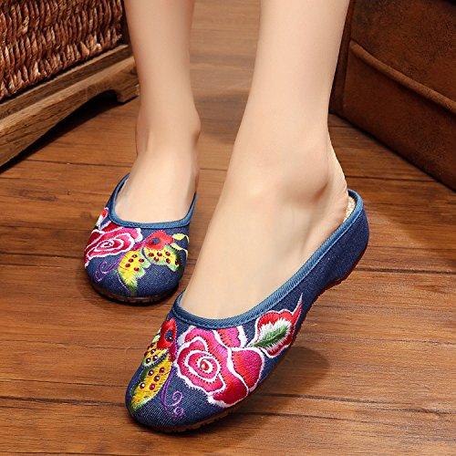 ZQ Gestickte Schuhe, Sehnensohle, ethnischer Stil, weiblicher Flip Flop, Mode, bequem, Sandalen , black , 41