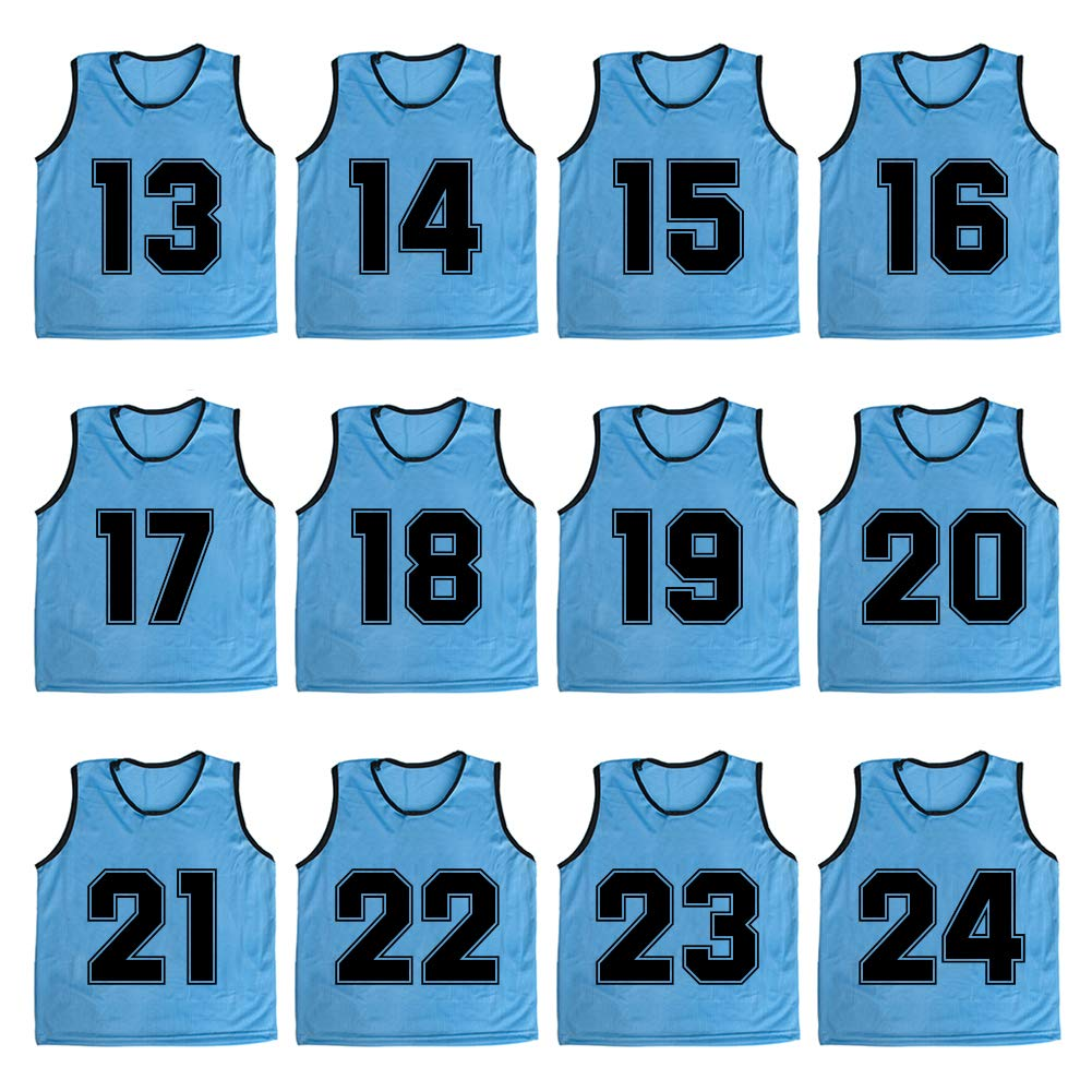 TOPTIE Numbered/Blank Scrimmage Team Practice Mesh Jerseys Vests Pinnies (12-Pack)-LightBlue (#13 to 24)-Child by TOPTIE