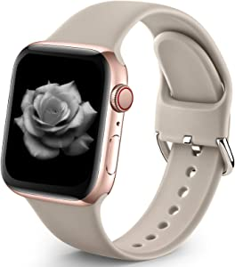 Sport Band Compatible with Apple Watch iWatch Bands 38mm 40mm for Women Men,Soft Silicone Strap Wristbands for Apple Watch Series 3 Series 6 Series 5 Series 4 Series 2 Series 1 Series SE,Stone