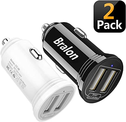 18W//3.4A 3-Port Rapid Car Charger with Smart ID Compatible for iPhone Xs//Xs max//Xr//X//8//7//6//5,iPad Pro//Air//Mini,Galaxy S9//S8//S7//S6,Note 9//Note 8,LG Bralon USB Car Charger 2-Pack HTC and More Nexus