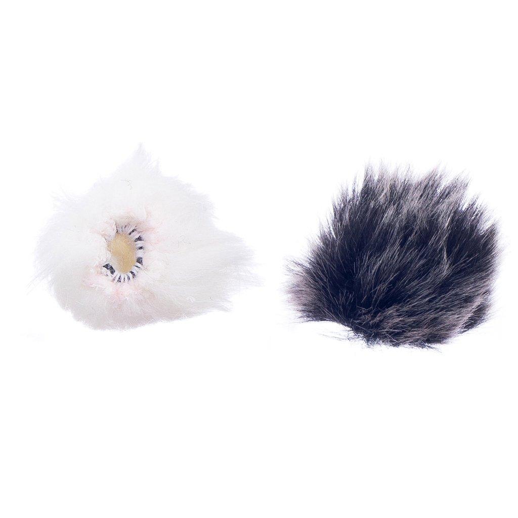 Baoblaze Microphone Pare-brise Housse Pour Revers Micro Cravate Noir - Blanc