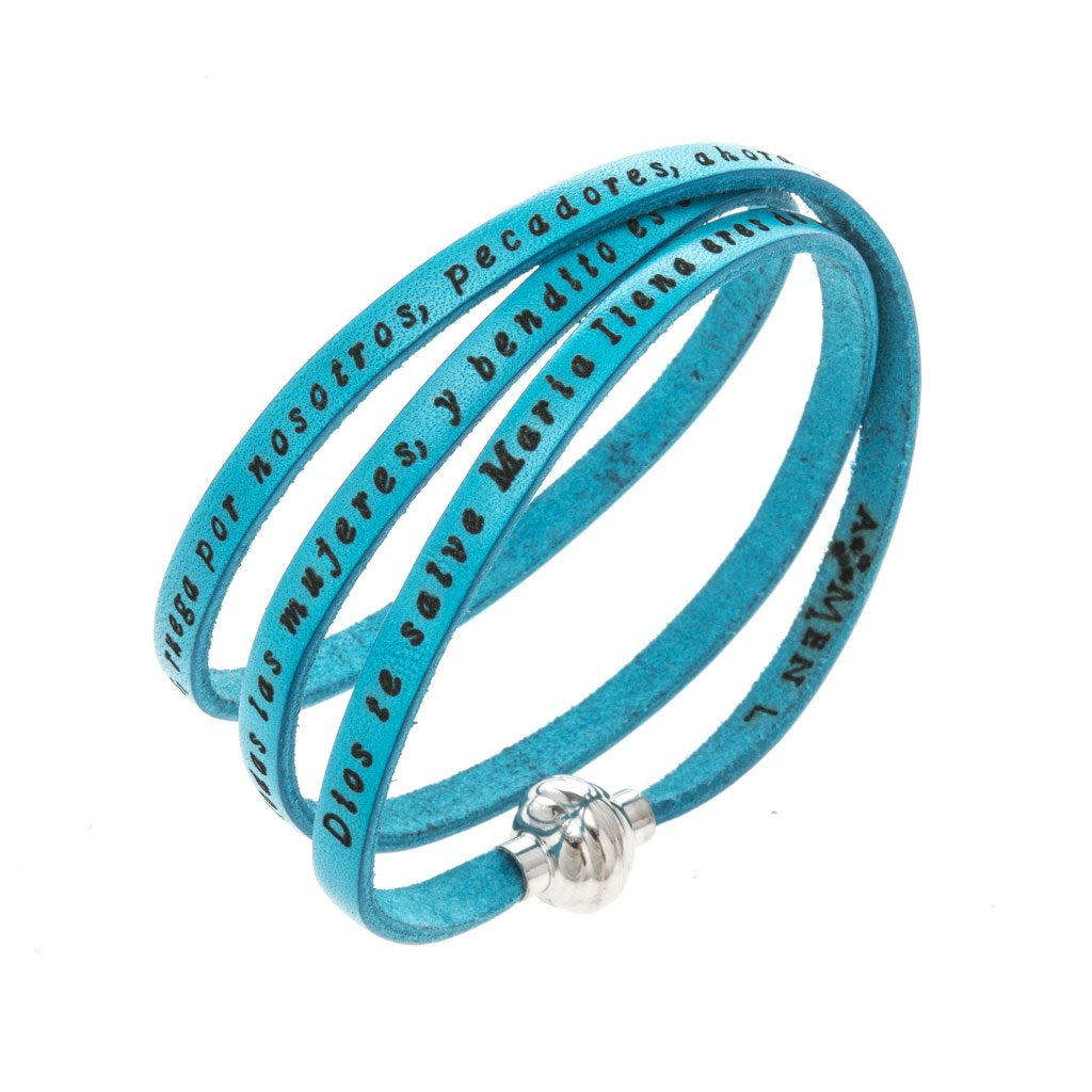 Amen Bracelet in turquoise leather Hail Mary SPA, 60 cm (23.64 inc.)