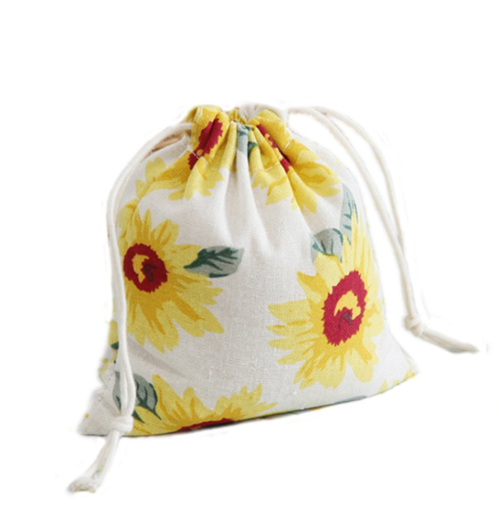 Riverer Pack of 12 Sunflowers Pattern Drawstring Gift Bags Pouch Wrap for Party/Game/Wedding, 14x16cm (5.5x6.3 Inches)