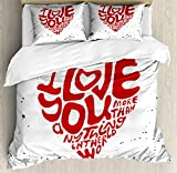 I Love You More King Size Duvet Cover Set by Ambesonne, More Than Anything in the World in a Heart with Color Splashes, Decorative 3 Piece Bedding Set with 2 Pillow Shams, Vermilion Black White