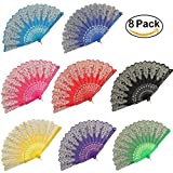 gold hand fan - BABEYOND 8pcs Vintage Folding Hand Fan Gold Decoration Handheld Folding Fan Fabric Folding Fan for Wedding Dancing Party (Color Random Selected with Gold decoration)