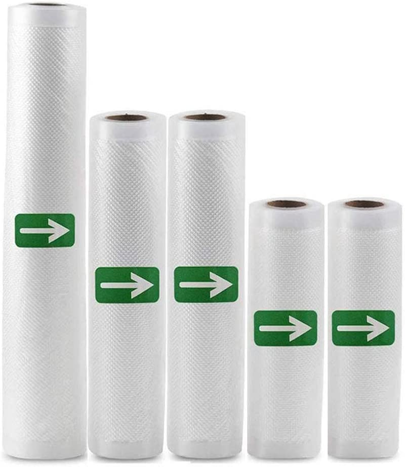 "Vacuum Sealer Bag Rolls-5 Pack(6"" x 20' /8"" x 20'/11"" x 20') Heavy Duty Vacuum Food Storage Saver for Vac Storage and Sous Vide Cooking,Work with Foodsaver Vaccum Sealer(Fits Inside Machine),BPA Free"