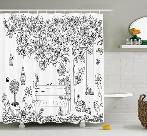 Butterfly Lantern (Ambesonne Farm House Decor Collection, Floral Tree with Lanterns Butterflies and Swing in Garden Dream Space Illustration, Polyester Fabric Bathroom Shower Curtain, 84 Inches Extra Long, Black White)