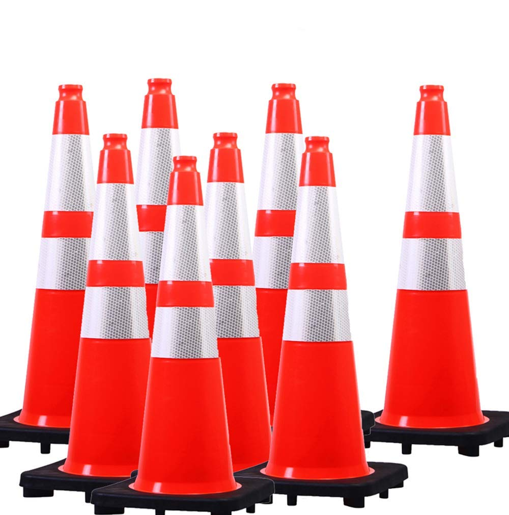 (8 Cones) Orangeplas Orange PVC Safety Traffic Cone,Black Base Construction Road Parking Cone structurally Stable Wearproof (28'' High Base)