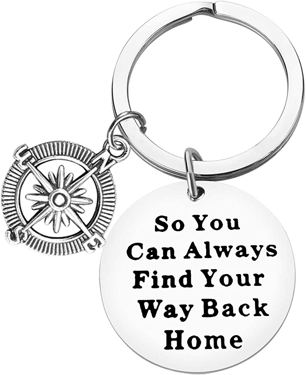 Compass Keychain So You Can Always Find Your Way Back Home Inspirational Keychain Birthday Graduation Christmas Encouragement Gift For Best Friend Family Girlfriend Boyfriend