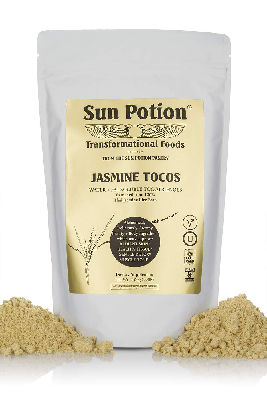 Jasmine TOCOS Powder 400g by Sun Potion - Organic Rice Bran Solubles - Tocotrienols Ultimate Superfood High in Vitamin E Promotes Healthy Skin Care Connective Tissue and Muscle - Raw, Pure, Non-GMO by Sun Potion (Image #1)
