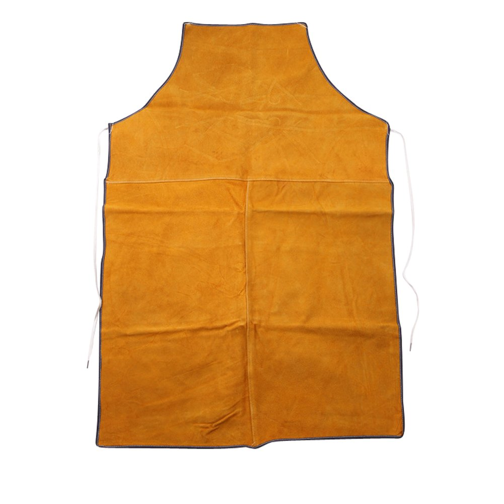 Welding Apron - Heat Resistant Flame Resistant Work Apron Flame Retardant Cowhide leather Tool Apron Adjustable Wasit Strape HSW-077-US (Yellow)