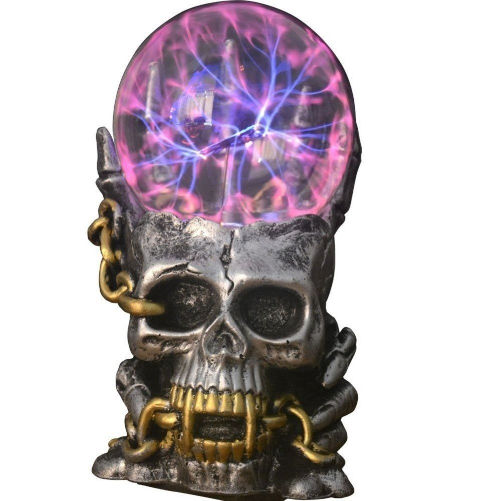 Aibote Magic Skull Head Glass lightning Plasma Ball Touch Sensitive Night Light Lamp Novelty Toy for Parties,Decorations,Kids,Bedroom,Home,And Gifts(Silver Chain+Silver body+Skull Sign)
