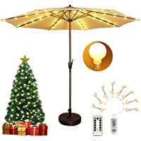 Patio Umbrella Lights Waterproof Battery Operated with Timer, Remote Control, 8 Modes, Dimmable, 104 LED 8 Branches Globe Light String Warm White for Christmas Tree Garden Bedroom Decor