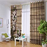 hengshu Rustic Home Decor Wear-Resistant Color Curtain Sweet Spring Flowering Branch on Weathered Wooden Blooming Orchard 2 Panel Sets W96 x L84 Inch Pink Brown Green