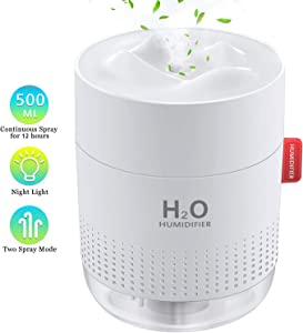 FoPcc 500ml Portable Humidifier, Mini Cool Mist Humidifier with Night Light, USB Personal Humidifier Auto Shut-Off, Ultra-Quiet, 2 Spray Modes, Suitable for Home Baby Bedroom Office Travel (White)