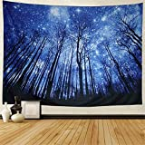 Dupetoner Trees Tapestry Wall Hanging Psychedelic Starry Night Forest Tapestry Fantastic Galaxy Landscape Tapestry Hippie Bohemian Wall Tapestry for Dorm Living Room Bedroom