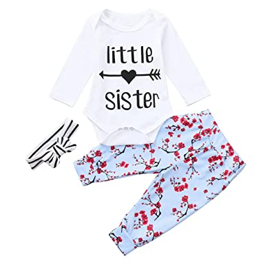 eb1cf373d82a Baby Girl Romper Floral Long Pants Striped Bowknot Headband 3pcs Outfits  Set Clothes