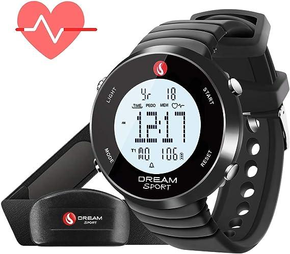 DREAM SPORT Dreamsport Pulsómetro, Reloj con Monitor de frecuencia cardíaca con Correa para el Pecho y podómetro, cronómetro, Alarma Dual, Contador de calorías, Resistente al Agua hasta 30 m, Negro: Amazon.es: Deportes