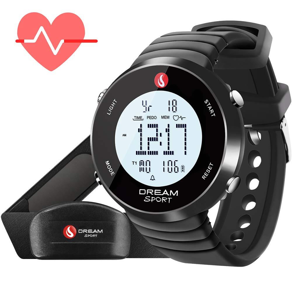 DREAM SPORT Dreamsport Pulsómetro, Reloj con Monitor de frecuencia cardíaca con Correa para el Pecho y podómetro, cronómetro, Alarma Dual, Contador de ...