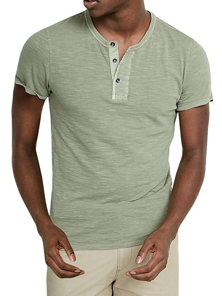 d8052c70 The classic men's henley shirts features V Neck Collar,Short Sleeve,Long  Sleeve,Round Neck,Plain T Shirts.And the slim fit style with highly elastic  ...
