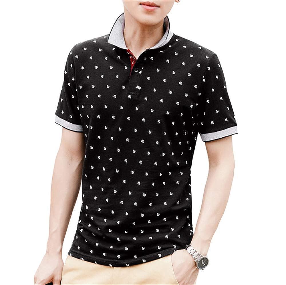 Mens Tops Summer Cotton Printed Shirts Short Sleeve Stand Collar Male Shirt