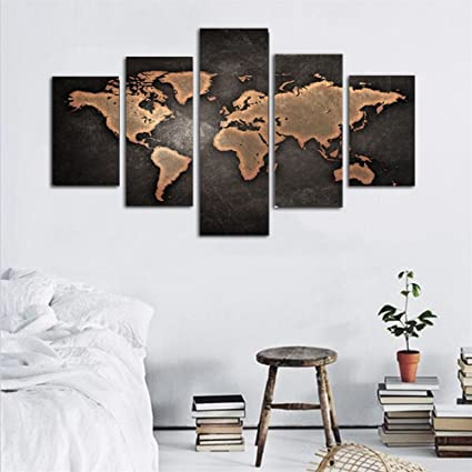 Amazon juyi art general world map black background wall art juyi art general world map black background wall art painting pictures print on canvas art the gumiabroncs Image collections
