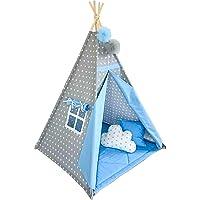 DEVRİLMEZ & TOPLANMAZ Pamuk Ahşap Kızıldereli Oyun ve Uyku Çadırı (mavi)