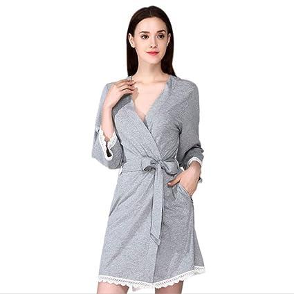 Ropa de dormir Albornoz de las mujeres 100% algodón V cuello sola falda pijamas de