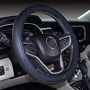 Mayco Bell Microfiber Leather Car Medium Steering wheel Cover (14.5''-15'',Black)