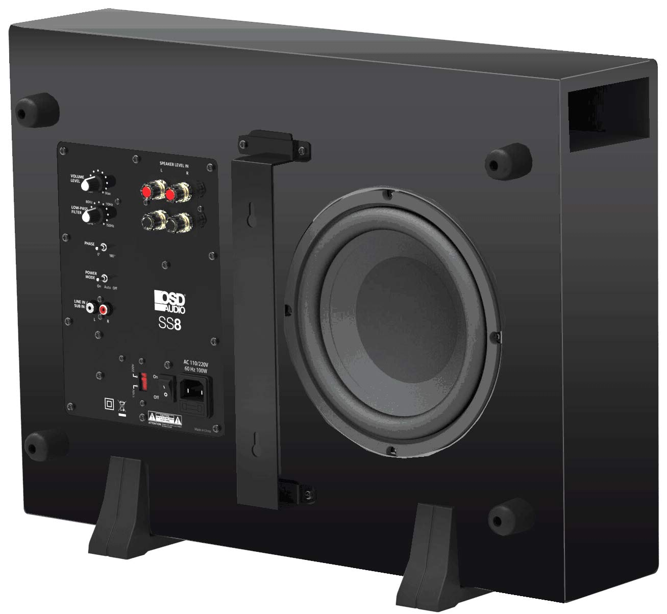 "OSD Audio SS8 Low Profile Home Theater Powered Subwoofer with 8"" Injection Cone Woofer and 200W Power Output"