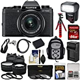 Fujifilm X-T100 Digital Camera & 15-45mm XC OIS PZ Lens (Black) 64GB Card + Battery + Charger + Tripod + Flash + Backpack + 2 Lens Kit