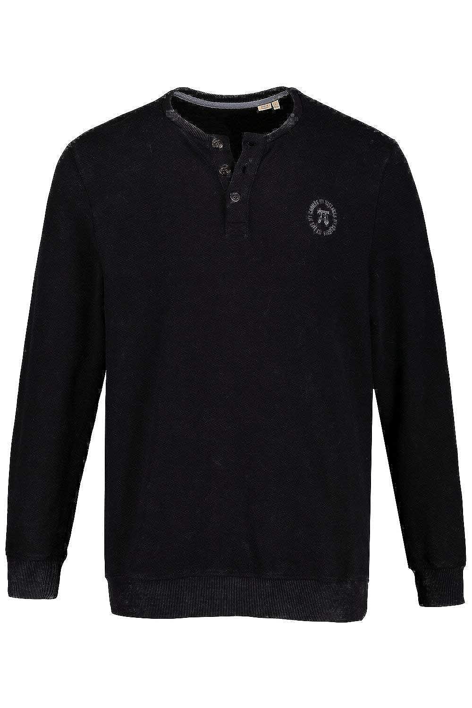 JP 1880 Herren große Größen bis 7XL, Langarm-Henley, Shirt, Basic, Knopfleiste, Soft vorgewaschen, Reine Baumwolle 716835