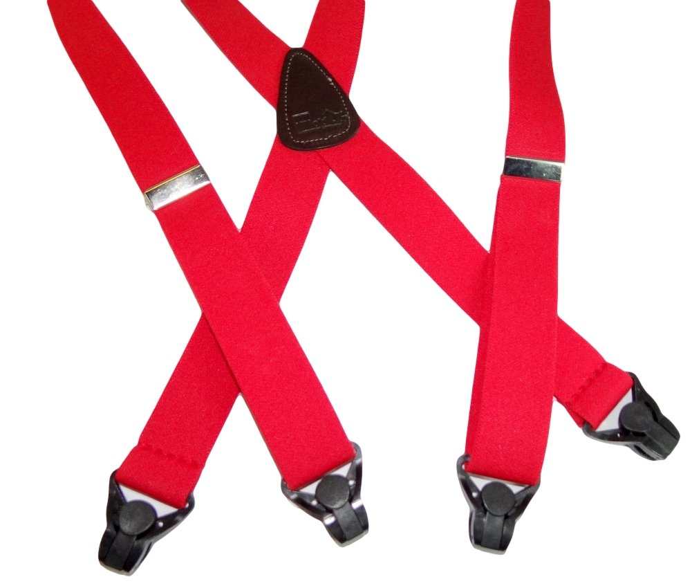 Holdup 42'' Teenager sized Red Ski-Up Suspenders with black Patented Gripper Clasps are made in the USA