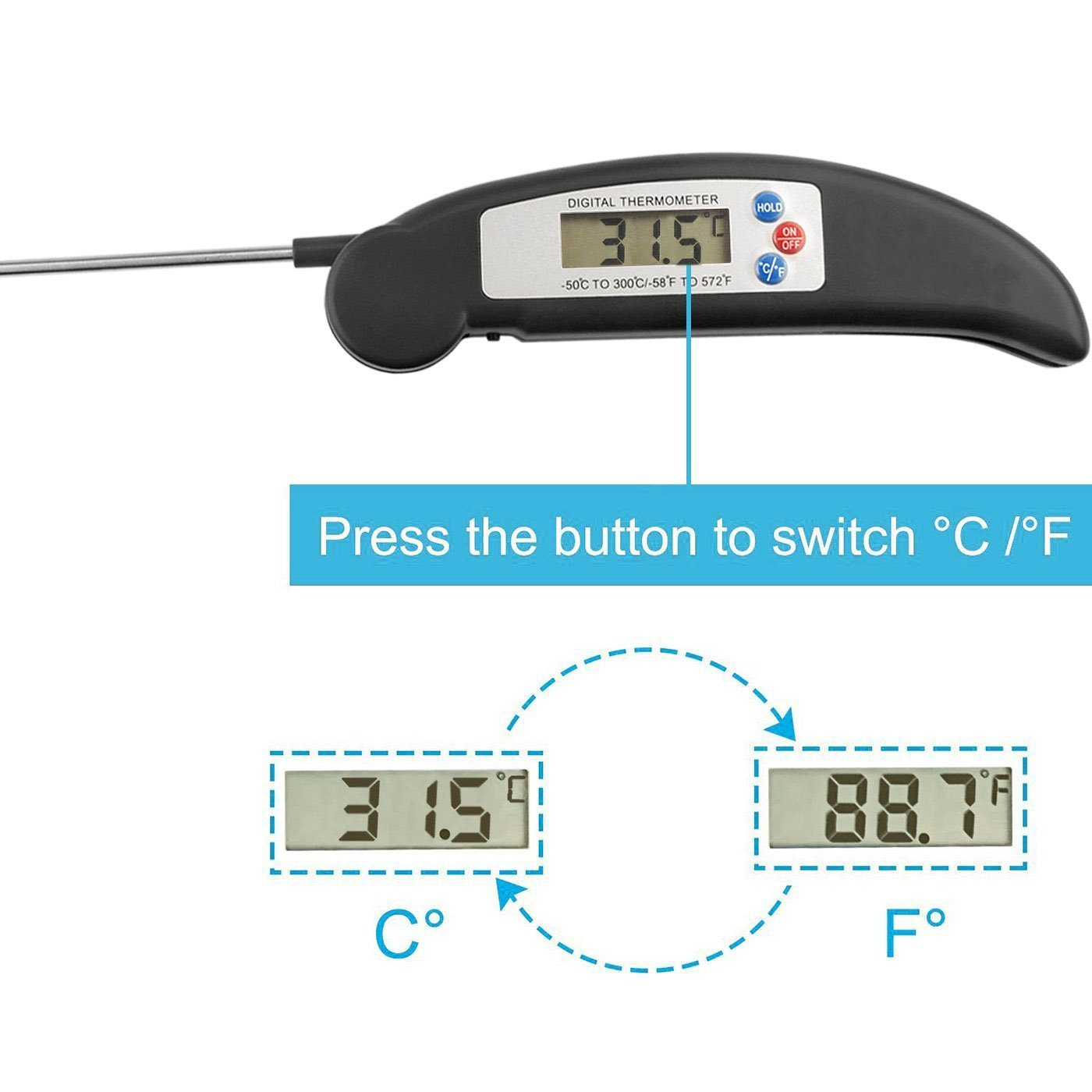Amazon.com: Instant Read Cooking Meat Thermometer - Super Fast ...